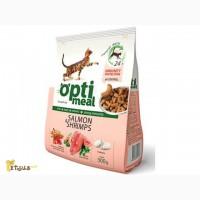Сухой корм для кошек Optimeal лосось- креветки и жидкий корм Optimeal пауч по 85 г