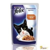 Консерва для котов Felix Fantastic 100г, Wiskas пауч100г, Kitekat пауч 100г.